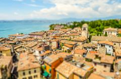 Aerial view of Sirmione, Lake Garda, Italy. Tilt-shift effect applied Stock Photos