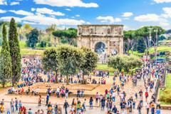 Arch of Constantine, Roman Forum, Rome, Italy. Tilt-shift effect applied Stock Photos