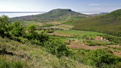 Beautiful green landscape from Hungary with volcanoes (Balaton) Stock Footage