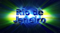 RIO DE JANEIRO Text Animation and Brazil Flag, Loop, 4k Stock Footage