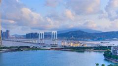Macau Tower And Macau Bridge Landmark Of Macau China (zoom in) - stock footage