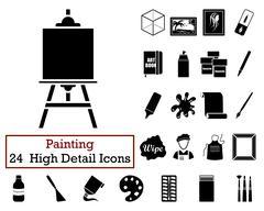 Set of 24  Artist Icons - stock illustration