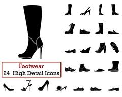 Set of 24 Footwear Icons - stock illustration