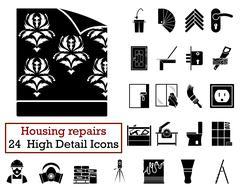Set of 24 Housing repairs Icons Stock Illustration