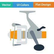 Flat design icon of Fishing reel - stock illustration