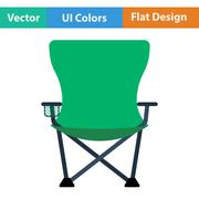 Flat design icon of Fishing folding chair - stock illustration