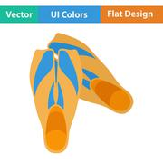Flat design icon of swimming flippers Piirros