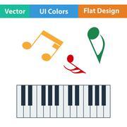 Flat design icon of Piano keyboard - stock illustration