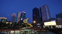 Night view of Tianfu Square central business district in the blue hour - stock footage