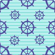 Seamless pattern with steering wheel on striped blue background - stock illustration