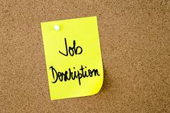 Job Description written on yellow paper note - stock photo
