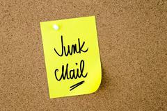 Junk Mail written on yellow paper note - stock photo
