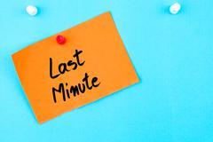 Last Minute written on orange paper note - stock photo