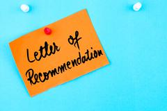 Letter Of Recommendation written on orange paper note - stock photo