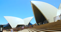 Sydney Opera House Surrounded by crowds of tourists Stock Footage