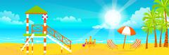 Illustration of happy sunny summer day at the beach. Lifeguard tower on island Stock Illustration