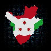 Burundi map flag on hex code illustration - stock illustration