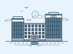 city street with bank, banking house, modern architecture in line style - stock illustration