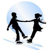 Childhood friendship. figure skating Stock Illustration