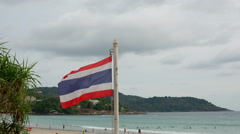 Thailand Flag On The Cloudy Sky Background. Time Lapse Stock Footage