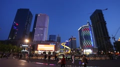 Night view of Tianfu Square central business district in the blue hour Stock Footage