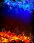 background of red and blue fire - stock illustration