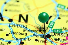 Freital pinned on a map of Germany - stock photo