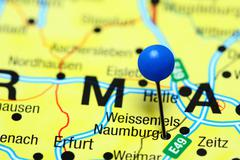 Naumburg pinned on a map of Germany - stock photo