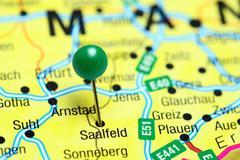 Saalfeld pinned on a map of Germany - stock photo