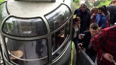 Cable Car Arriving in Borjomi City, Georgia Stock Footage