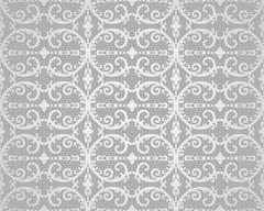Seamless silver flowers and foliage wallpaper - stock illustration