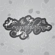 Congratulations floral swirls on seamless leaves pattern - stock illustration
