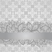 Silver lace border on floral silver wallpaper Stock Illustration