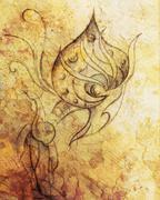 allien figure  ornamental drawing on paper. Desert crackle Computer collage - stock illustration