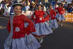 ARICA, CHILE - JANUARY 23, 2016: Morenada Dancers at the Carnaval Andino. Stock Photos