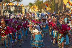 ARICA, CHILE - JANUARY 23, 2016: Tinku dance group at the Carnaval Andino Stock Photos
