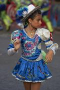 ARICA, CHILE - JANUARY 23, 2016: Female member of a Caporales dance group Stock Photos