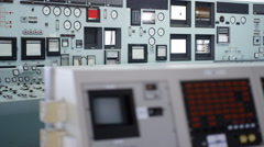 4K Close up on computer control panel in power plant control room. No people.  - stock footage