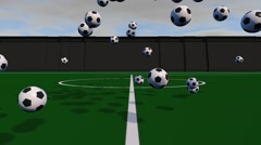 Soccer Balls  Crashing Down And Bouncing In Slow Motion on Soccer Field - stock footage