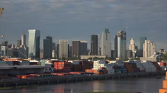 Buenos Aires container port and skyline, Argentina, dolly shot - stock footage
