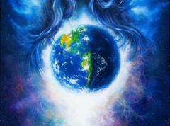 Planet earth in cosmic space  surrounded by  blue woman hair, Cosmic Space - stock illustration