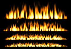 Fire or fire lines isolated on black background, fire elements, fire frame Stock Illustration