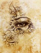 woman eye with ornament, pencil drawing, eye contact. Sepia effect and Computer - stock illustration