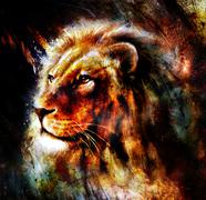Lion painting on abstract color background. Profile portrait - stock illustration