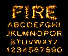 Fire font collection, alphabet of flame. Stock Illustration