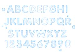 Water font. Latin alphabet made of water. - stock illustration