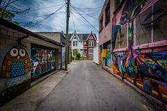 Graffiti in an alley in West Queen West, in Toronto, Ontario. Stock Photos