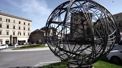 Beautiful modern art in small italian town Stock Footage