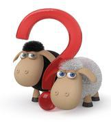 Loving couple of sheep 3d illustration - stock illustration