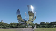 Buenos Aires, metal flower sculpture, Argentina, dolly shot Stock Footage